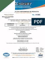 Certificado Producto FOTOCONTROL