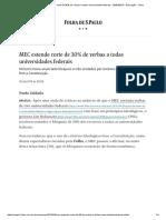 MEC Estende Corte de 30% de Verbas a Todas Universidades Federais - 30-04-2019 - Educação - Folha