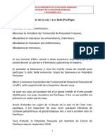 Discours Du Président -- Ouverture Colloque Axe Indo-pacifique Et Routes...