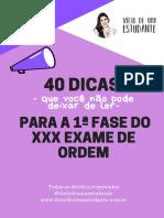 eBook 40 Dicas 1ª Fase Oab Xxx