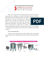 Brief Analysis of Waste Paper Pulp Processing