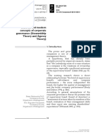Classical and Modern Concepts of Corporate Governance (Stewardship Theory and Agency Theory)