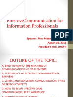Effective Communication for Information Professionals