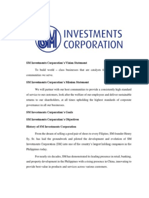Sm Investments Corporation Docx Corporate Social Responsibility Health Care