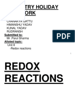 Redox Reactions Holiday Homework