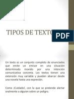 Clase No. 15 Tipos de Textos