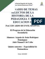El Progreso de La Educación Secundaria