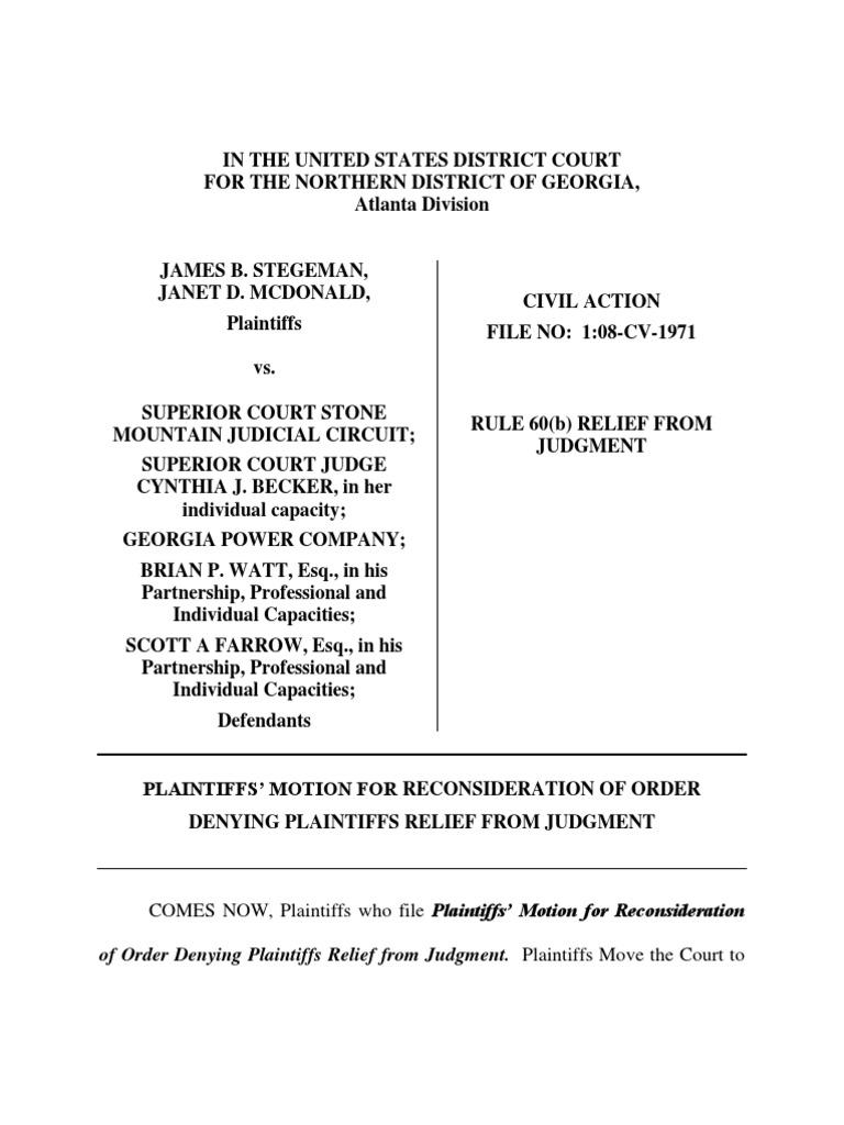motion for reconsideration denial of plaintiff u0026 39 s rule 60 b