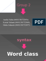 Syntax ( Word Class)