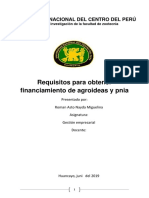 Requisitos para obtener financiamiento de agroideas y pnia