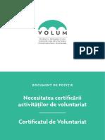 Certificarea activitatilor de voluntarit