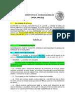 Acta Constitutiva de Sociedad Anonima de Actividad Integradora