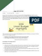 highlights of union budget 2019