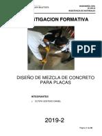 Diseño de Mezcla para Placas F'c =28Kg/cm2