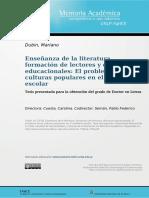 Enseñanza de la literatura, formación de lectores y discursos educacionales