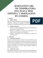 Determinación Del Perfil de Temperatura de Una Placa Semi Infinita y Simulación en Comsol