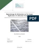 Apprentissage de dictionnaire sur les images - Application à la détection d'anomalies
