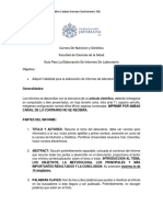 Guía Elaboración de Informes de Laboratorio Para Fundamentos de Dietética