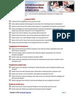 Checklist Self Assessment Sistem Manajemen Mutu ISO 9001