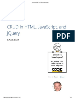 CRUD in HTML, Javascript and Jquery