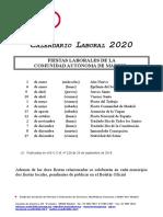 Calendario Laboral CAM 2020 Oficial