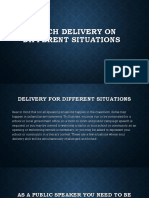 Speech Delivery on Different Situations