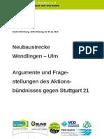 Stuttgart 21 Schlichtung - [3] 2010-11-04 - Argumente und Fragestellungen des Aktionsbündnisses gegen Stuttgart 21