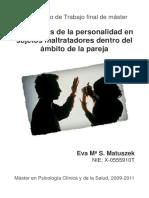 Trastornos de La Personalidad en Sujetos Maltratadores Dentro Del Ambito de La Pareja