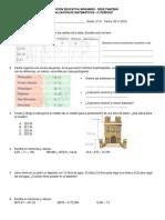 Examen Matemáticas grado 5°