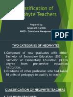 Classification of Neophyte Teachers