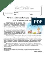 Teste de Portugues 4ª Unidade 3º Ano 2019