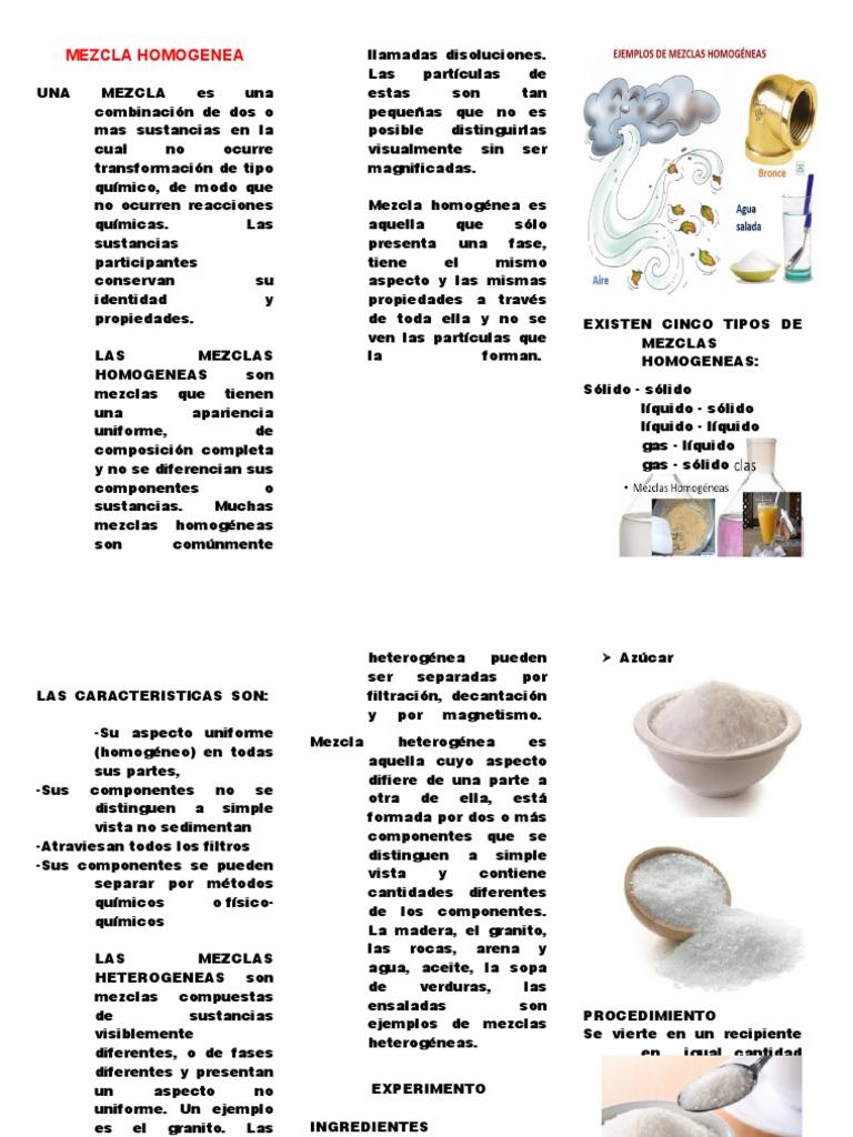 Triptico Mezcla Homogenea Y Heterogenea Combinaciones Mezcla Sustancias Químicas