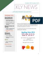 weekly newsletter- nov 11 - 15