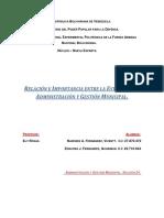Relación e Importancia de la Estadistica con la Administración y Gestión Municipal