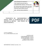 Propuesta de Microempresa de Produccion Social Para La Elaboracion de Dulceria