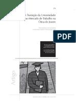A Transicao Da Universidade Ao Mercado de Trabalho - Melo, S L