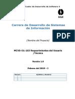 MCVS-O1-103 Requerimientos de Usuario - Tecnico