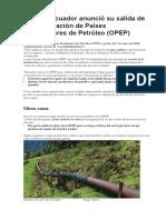 Ecuador Anunció Su Salida de La Organización de Países Exportadores de Petróleo
