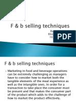 F & b Selling Techniques