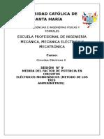 MEDIDA DEL FACTOR DE POTENCIA EN CIRCUITOS  ELÉCTRICOS MONOFÁSICOS (METODO DE LOS TRES  AMPERÍMETROS)