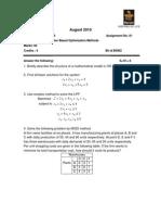 MC0079-Computer Based Optimization Methods (Statistics Applied or)-Fall-10