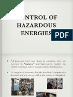 Control of Hazardous Energies