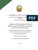"""""""Diseño de un Sistema de Soporte de Toma de Decisiones  basado en el Balanced  Scorecard para una Universidad Privada Peruana"""""""