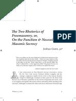 0A the Two Rhetorics of Freemasonry, Or, On Function and Necessity of Masonic Secrecy