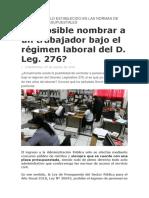 Es Posible Nombrar a Un Trabajador 276 - Normas de Carrera y Presupuestales