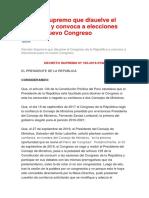 Decreto Supremo Que Disuelve El Congreso y Convoca a Elecciones Para Un Nuevo Congreso