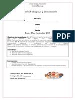 Evaluación de Lenguaje y Comunicación Proceso Letra B, Z, Ñ