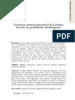 ABADIE, Nicolás - Las Formas Artísticas-discursivas de La Palabra Bivocal y Las Posibilidades Dialogismo