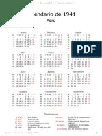 Calendario de Perú de 1941 _ ¿Cuándo en El Mundo