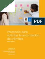 Protocolo Para Solicitar La Autorización de Trámites - Versión 1 - Mayo 2019
